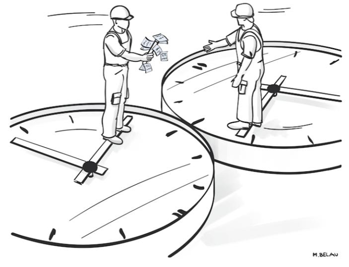 Schichtübergabe Zwei Arbeiter auf Uhren